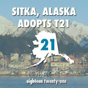 Photo of Sitka with text across