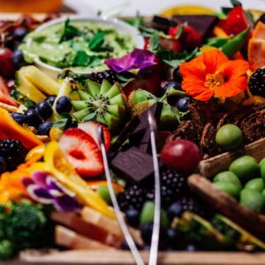 Tray full of fresh fruit and vegetables