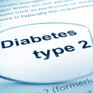 "Eyeglasses upside down on a document magnifying the words ""Diabetes Type 2"""