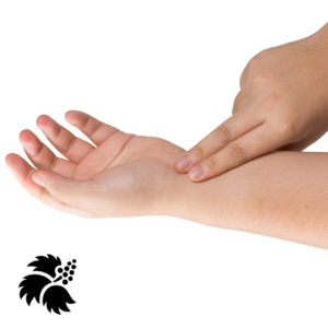Photo of hand demonstrating acupressure